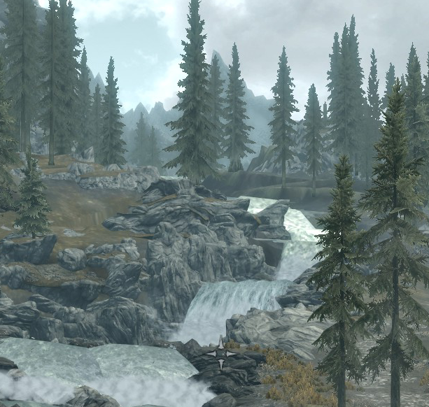 """Skyrim screenshot near Whiterun, x=5"""