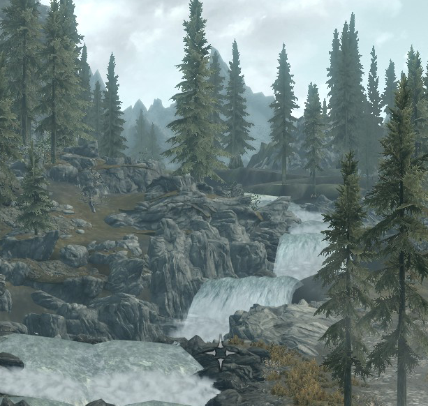 """Skyrim screenshot near Whiterun, x=7"""